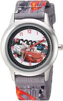 Disney Boy's 'Cars' Quartz Stainless Steel and Nylon Casual Watch, Color: (Model: WDS000026)