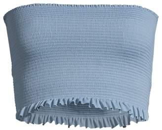 Pilyq Smocked Ruffle Bandeau Bikini Top