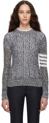 Thom Browne Navy and White Open Stitch 4-Bar Sweater