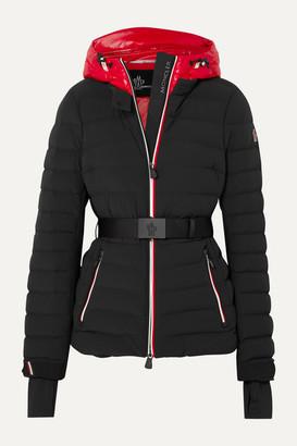 Moncler Bruche Belted Two-tone Quilted Ski Jacket - Black
