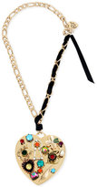 Betsey Johnson Gold-Tone Black Ribbon Multi-Charm Heart Pendant Necklace