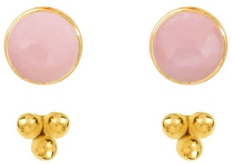 Agnes de Verneuil Stone Studs & 3 Pearls Ear Jacket - Gold -Pink Opale