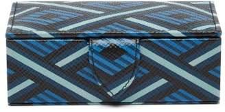 Smythson Panama Small Geometric-print Leather Cufflink Box - Mens - Blue