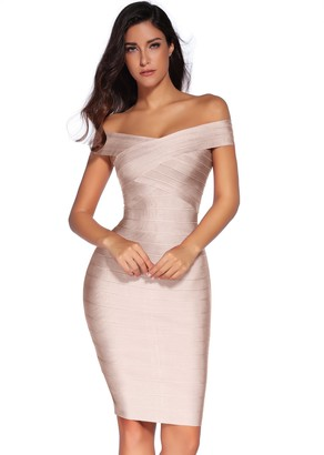meilun Rayon Sexy Off-Shoulder Stretchy Party Bandage Bodycon Midi Dress Dark Pink