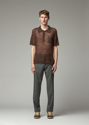 Maison Margiela Men's Sheer Polo Top in Brown Size Small