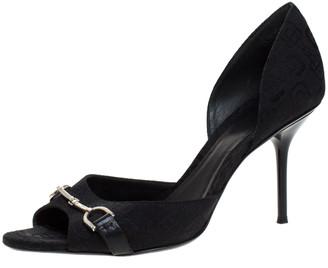 Gucci Black Canvas Horsebit D'Orsay Peep Toe Pumps Size 38
