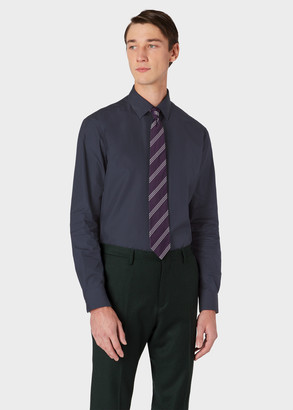 Paul Smith Men's Classic-Fit Dark Navy Cotton Shirt With 'Signature Stripe' Cuff Lining