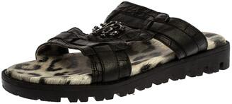 Roberto Cavalli Black Croc Embossed Leather Logo Flat Slide Sandals Size 39