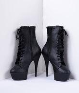 Unique Vintage Black Faux Leather Lace Up Stiletto Platform Ankle Boots