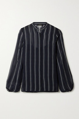 Akris Striped Silk-georgette Shirt - Midnight blue