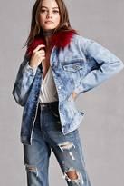 Forever 21 FOREVER 21+ Faux Fur Collar Denim Jacket