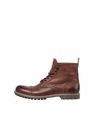 Jack and Jones Men's JFWEAGLE Leather Brown Stone Boots 10 UK