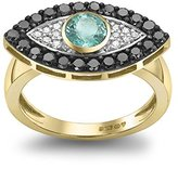 Gemfields x MUSE Holly Dyment 18ct Yellow Gold Emerald Center with Black and White Diamonds Evil Eye Ring - Size N
