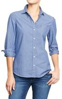 Old Navy Women's Railroad-Stripe Chambray Shirts