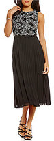 Jessica Howard Embroidered Belted Midi Dress