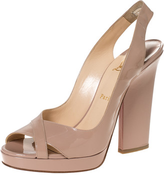 Christian Louboutin Beige Patent Leather Marpoil Peep Toe Platform Slingback Sandals Size 41