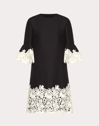 Valentino Crepe Couture And Macrame Inlay Dress Women Black 38