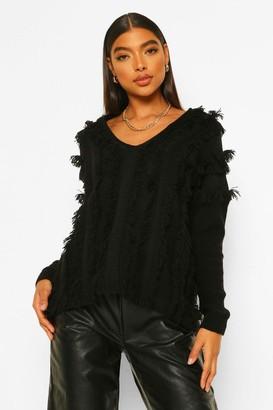 boohoo Tall Fringe Detail V-Neck Sweater