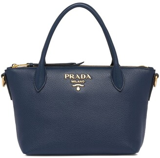 Prada Double Handle Leather Tote Bag