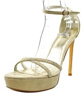 Stuart Weitzman Tizyou Women Open Toe Canvas Gold Platform Heel.