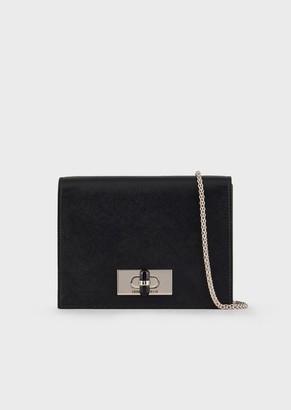Giorgio Armani Saffiano Leather, Mini Shoulder Bag With Plexiglass Turn-Lock Closure