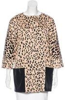Tibi Leather-Trimmed Leopard Print Jacket