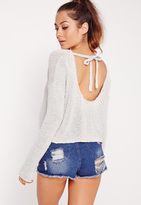 Missguided Scoop Back Cropped Sweater Grey