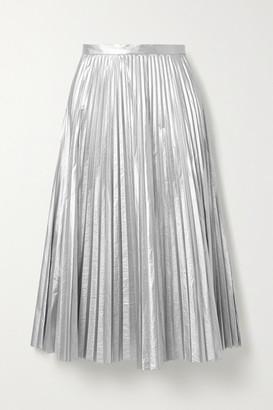 Tibi Pleated Metallic Shell Midi Skirt - Silver