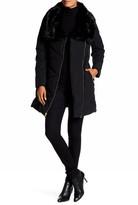 GUESS Asymmetrical Faux Fur Trim Quilted Coat