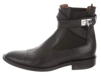 Givenchy Leather Shark-Lock Ankle Boots