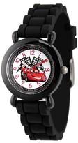 Cars Disney Lightning McQueen Boys' Black Plastic Time Teacher Watch, Black Silicone Strap, WDS000150
