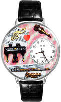 Whimsical Watches Personalized Music Teacher Womens Silver-Tone Bezel Black Leather Strap Watch