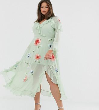 Asos DESIGN Curve embroidered wrap maxi dress-Green