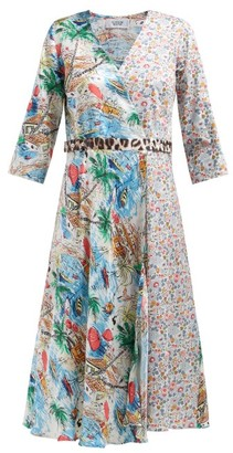 La Prestic Ouiston Square Silk And Cotton Wrap Dress - Multi