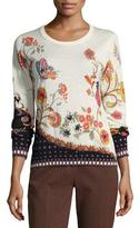 Etro Floral-Print Silk-Cashmere Crewneck Sweater, Ivory
