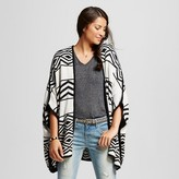 J Women's Reversible Pattern Open Sweater Cardigan Black/White OSFM -J'AIME (Juniors')