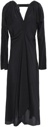 Kitx Asymmetric Cutout Silk-crepe Midi Dress