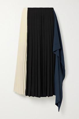 Monse Draped Pleated Color-block Crepe Midi Skirt - Black