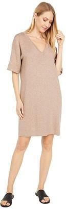 Lilla P Reversible V-Neck Sweater Dress (Acorn/Husk) Women's Dress