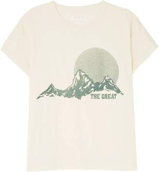 The Great The Boxy Crew Printed Cotton-jersey T-shirt