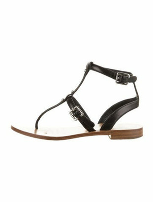 Prada Leather Studded Accents T-Strap Sandals Black