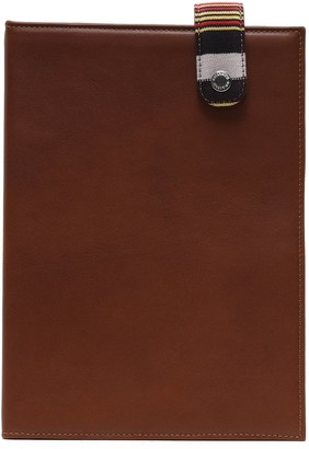 K'ai&Vrosi Leta Brown Leather Organizer With Handloomed Peshtamal Flap Closure