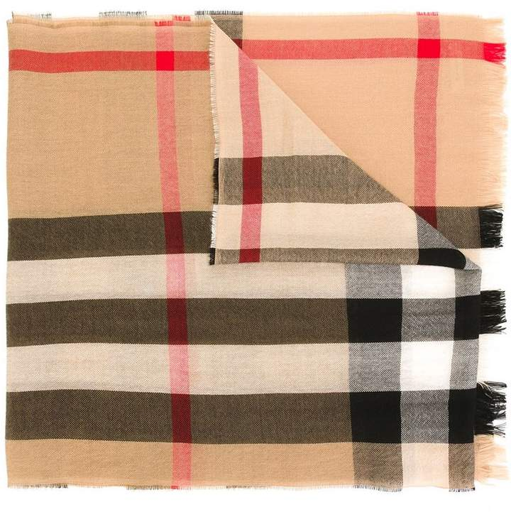 Burberry Lightweight Check Wool Cashmere Scarf