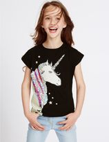Marks and Spencer Pure Cotton Unicorn Sequin Top (3-14 Years)