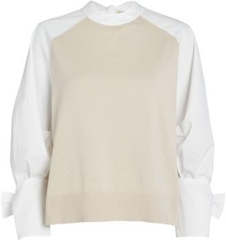 ADEAM Layered Poplin Bow Sweater