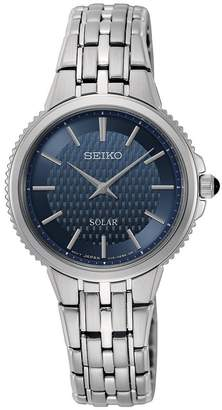 Seiko Stainless Steel Solar Watch with Cabochon Crown