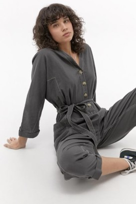 Urban Outfitters Slouchy Button-Front Jumpsuit