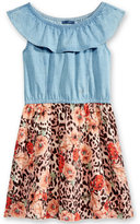 GUESS Chambray-Bodice Animal-Print Dress, Big Girls (7-16)