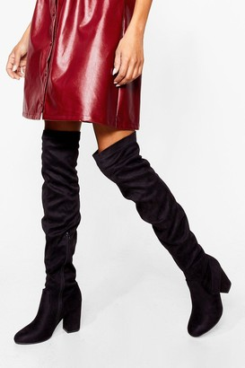 Nasty Gal Womens Faux Suede low block heel stretch OTK Boot - Black