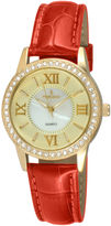 Peugeot Womens Crystal-Accent Red Leather Strap Watch 3044GRD